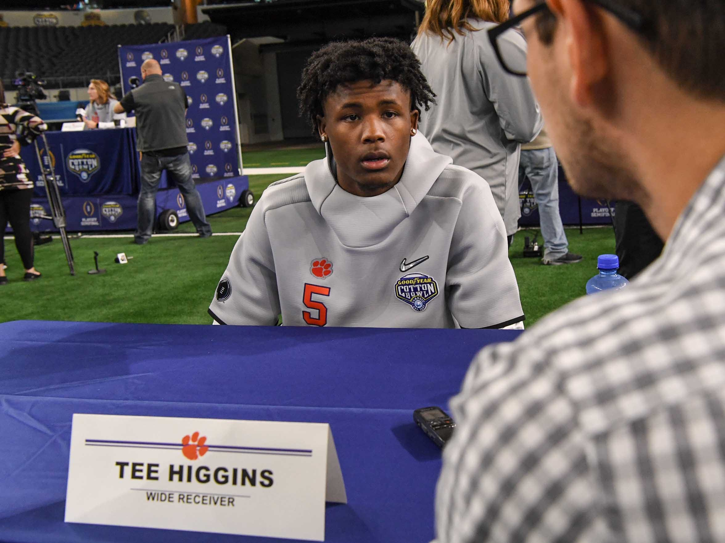 Clemson wide receiver Tee Higgins during Media Day for Clemson and Notre Dame at the AT&T Stadium in Dallas December 27, 2018.