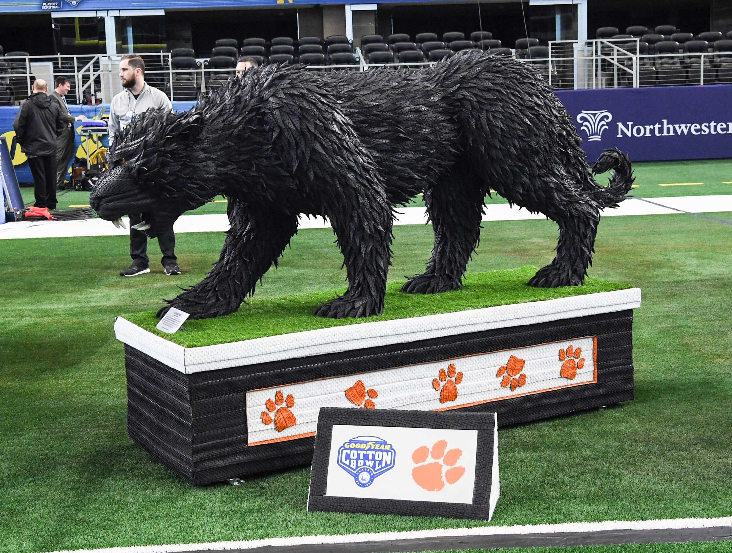 An artistic creation of a tiger made with Good Year tires during Media Day for Clemson and Notre Dame at the AT&T Stadium in Dallas December 27, 2018.