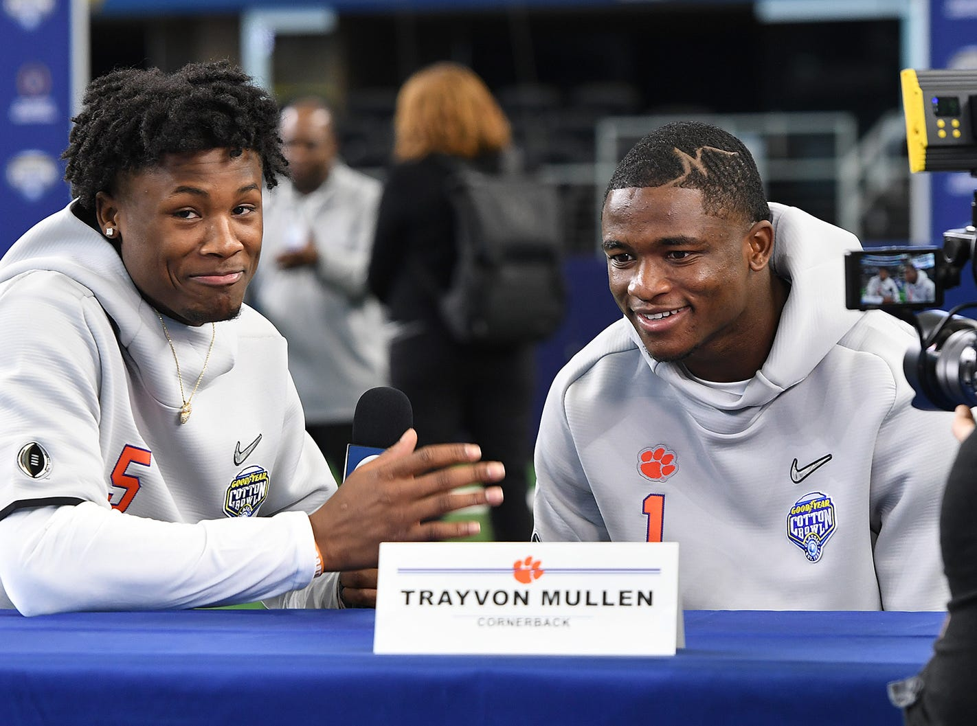 Clemson wide receiver Tee Higgins, left, interviews wide receiver Trevion Thompson during the Tigers Cotton Bowl media day at AT&T Stadium in Arlington, TX Thursday, December 27, 2018.
