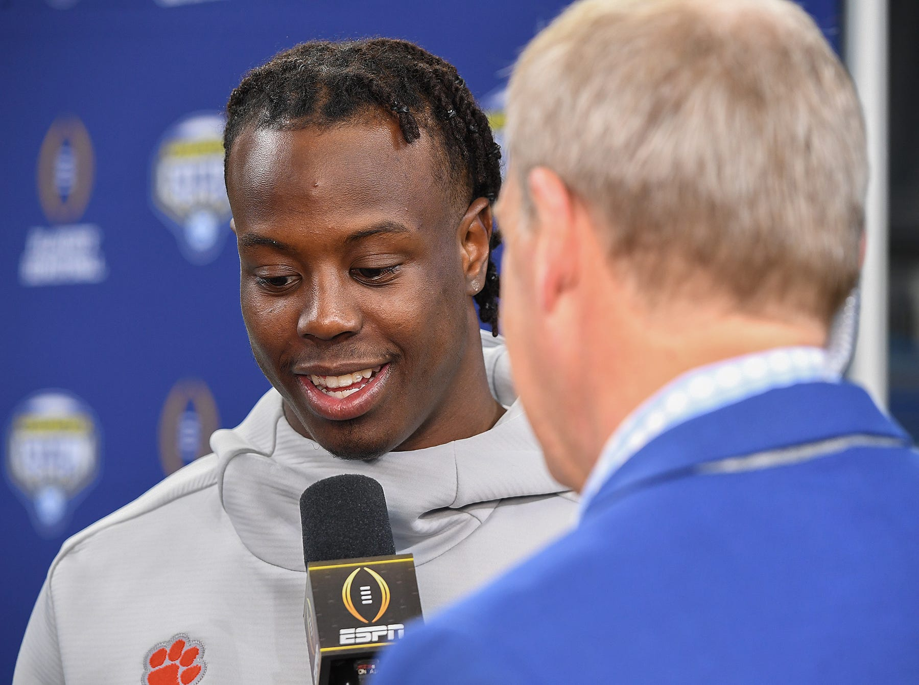Clemson running back Travis Etienne (9) is interviewed by ESPN during the Tigers Cotton Bowl media day at AT&T Stadium in Arlington, TX Thursday, December 27, 2018.