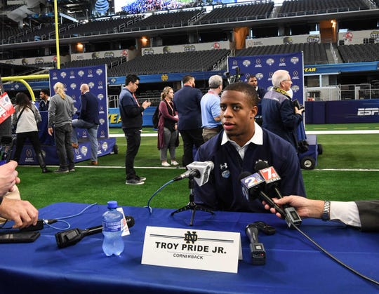 Notre Dame cornerback Troy Pride Jr. speaks during Media Day for Clemson and Notre Dame at the AT&T Stadium in Dallas December 27, 2018.