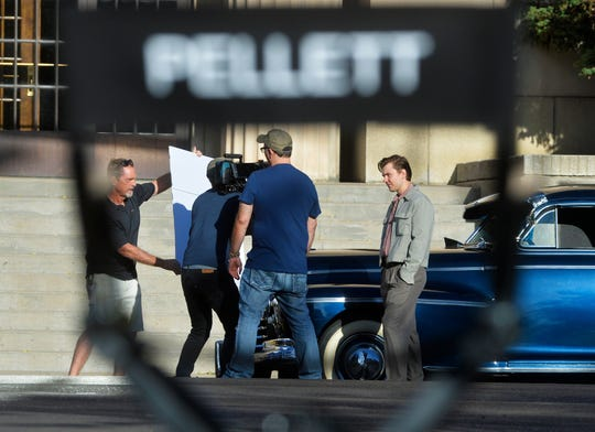 """A film crew shoots test shots for the film """"Pellett"""", Tuesday morning on Central Avenue.  The film, based on a true story, follows the 1951 murder of Clarence Pellett by a hitchhiking teenager, Frank Dryman, in Shelby.  Dryman was convicted of the murder, served 14 years of a life sentence in prison, and then violated his parole and evaded capture for 38 years.  The filming shutdown the 100 block of Central Avenue on Tuesday morning.  The crew will travel north to continue shooting in more rural locations."""