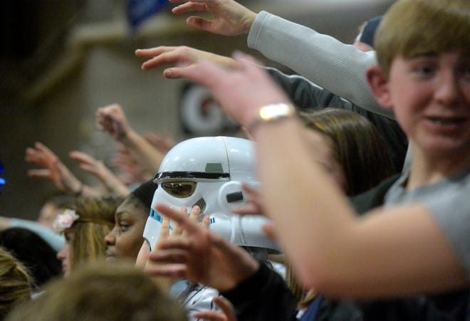 A storm trooper found his way into the Great Falls High student section during Tuesday night's crosstown basketball game against CMR in the Swarthout Fieldhouse.