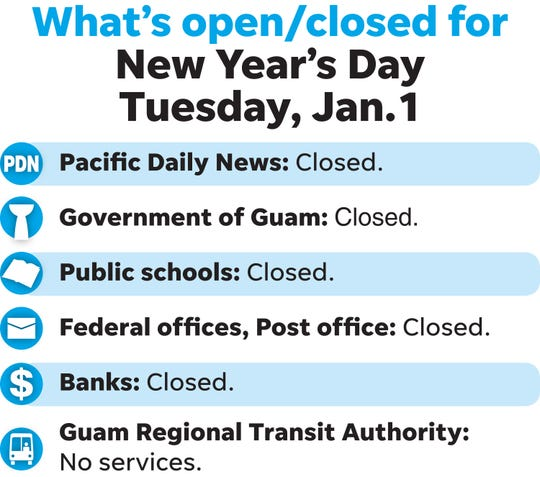 What's open, closed for New Year's Day, January 1, 2019.