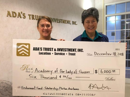 The Academy of Our Lady received a generous donation from Ada's Trust & Investment, Inc. on Dec. 18, 2018. Per the donor's request, funds received are earmarked for scholarships and tuition assistance. The three generations of Ada family alumnae serve as an inspiration to the many generations of Academians. Mother, +Fe P. Ada '53, was a member of Academy's first graduating class. Her daughters, Maria (Mia) '77, Frances (Franny) '80, Patricia (Patty) '83, Teresa '84, Carla '88 and granddaughter, Andrea '04, serve as role models for the communities they live in. The Ada family is exceptionally generous and continually supports their alma mater. As long time benefactors of the school, parents +Pedro and +Fe, have taught their children the true meaning Christmas through their generosity over the years, not only with the Academy, but also in our community. Pictured from left: Patty Ada, vice president; and, Sr. Mary Angela Perez, RSM '64, AOLG president.