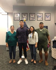 Congratulations Martin Jude Fernandez Borja on your enlistment into the United States Air Force on December 21, 2018. He is the youngest son of Michael and Madeleine Borja from Inarajan. From left: Madeleine Borja (mother), Martin Borja, Sheena Cruz (sister) and Michael Borja (father).