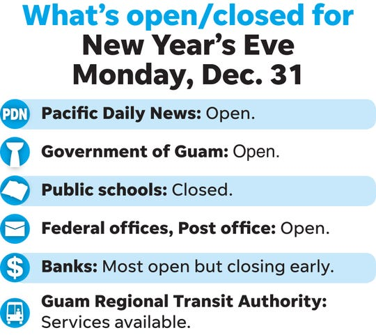 What's open, closed New Year's Eve, December 31, 2018.