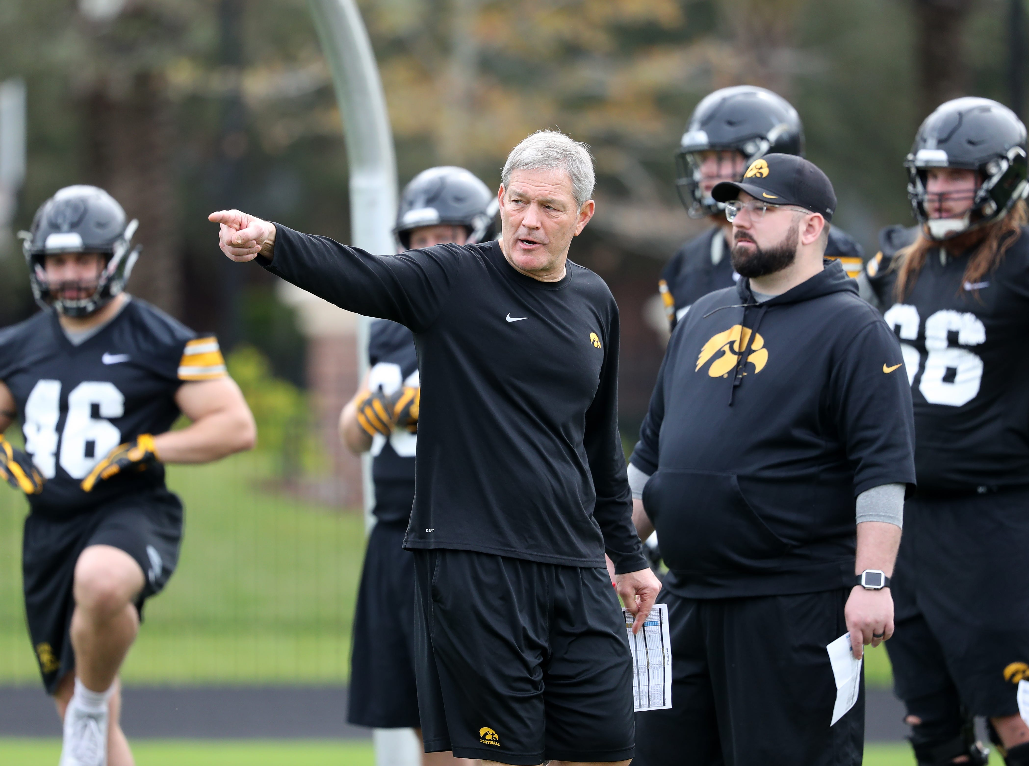 Iowa Hawkeyes head coach Kirk Ferentz during the team's first Outback Bowl Practice in Florida Thursday, December 27, 2018 at Tampa University.