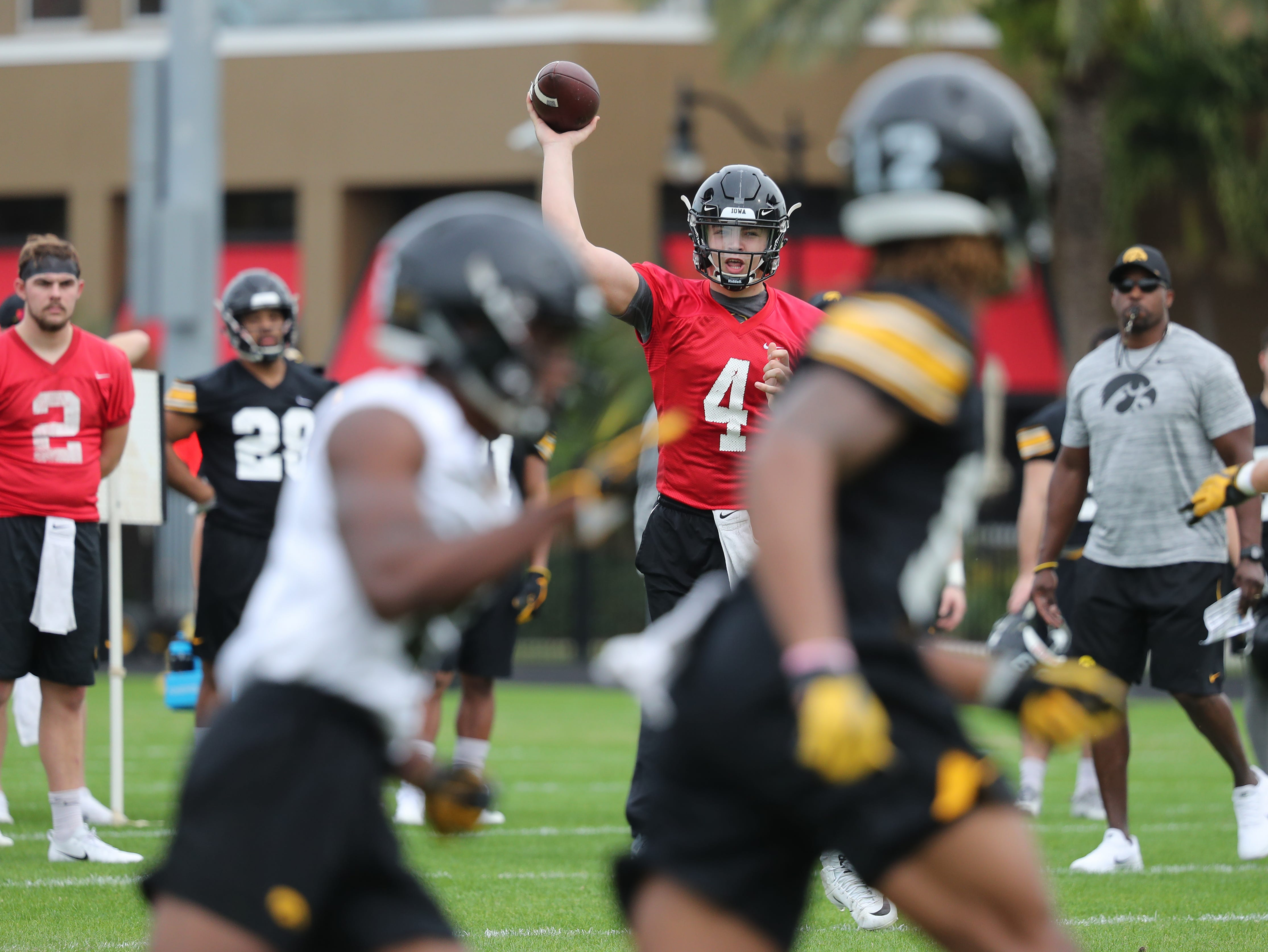 Iowa Hawkeyes quarterback Nate Stanley (4) during the team's first Outback Bowl Practice in Florida Thursday, December 27, 2018 at Tampa University.