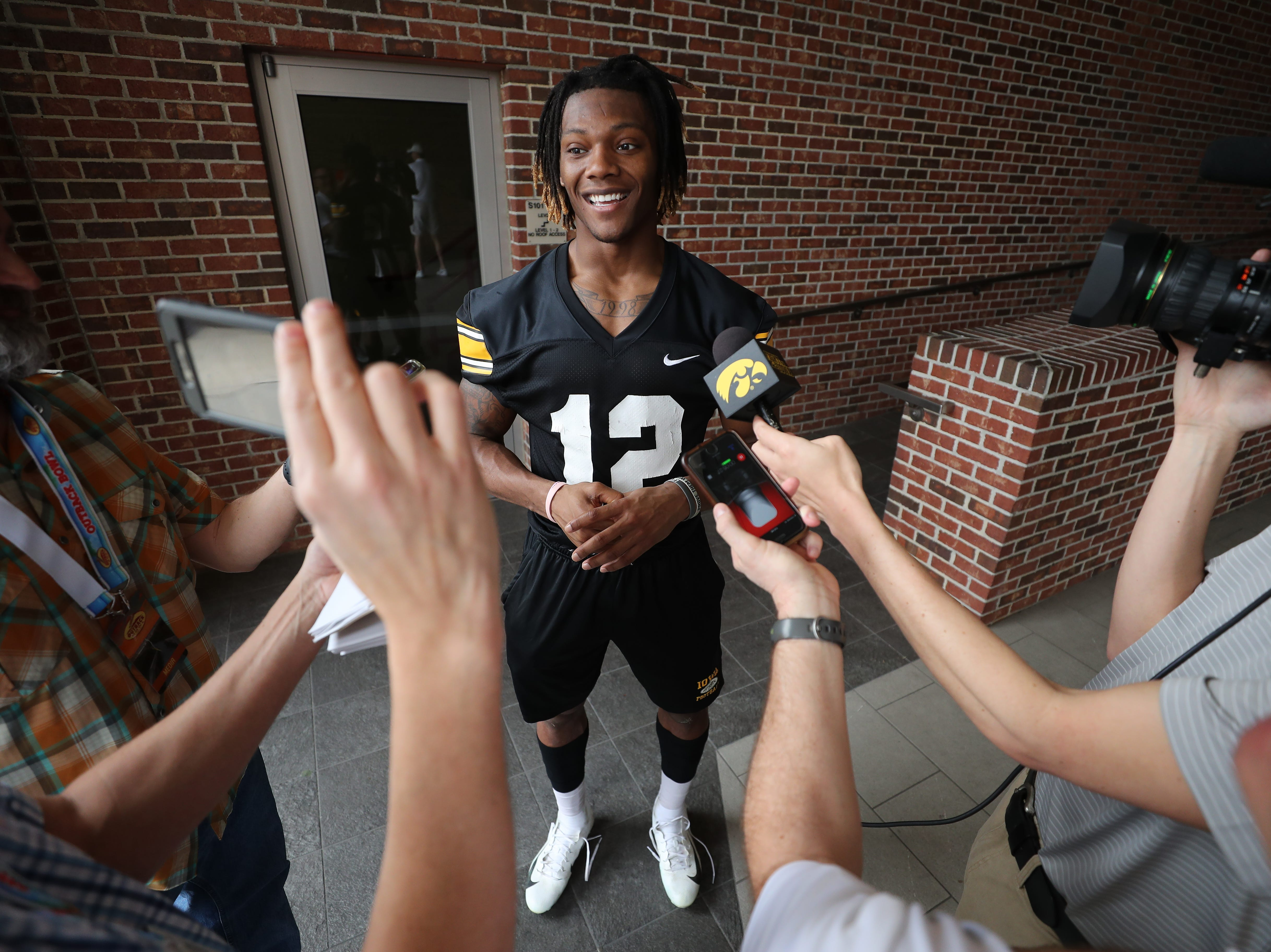 Iowa Hawkeyes wide receiver Brandon Smith (12) during the team's first Outback Bowl Practice in Florida Thursday, December 27, 2018 at Tampa University.
