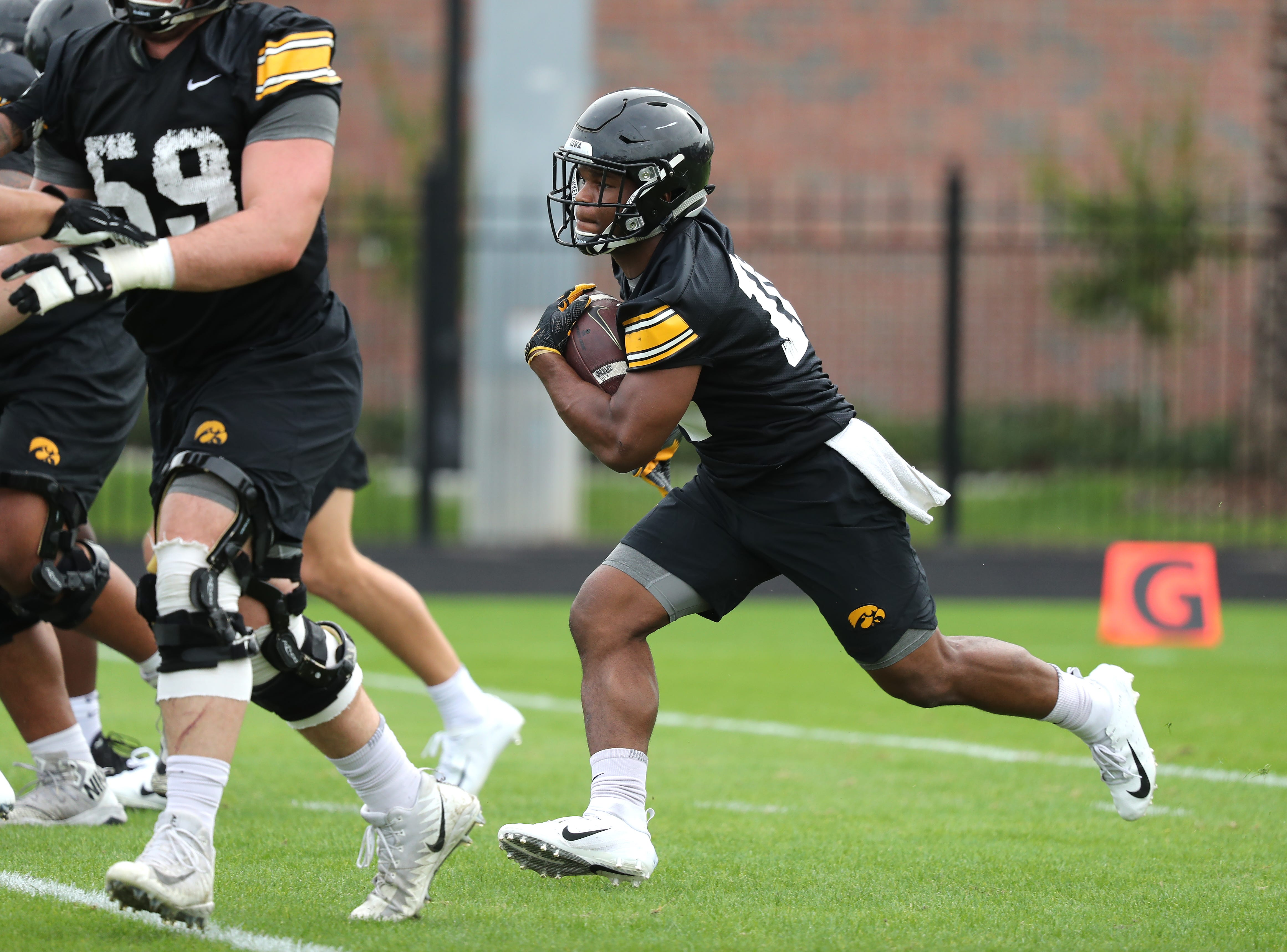 Iowa Hawkeyes running back Mekhi Sargent (10) during the team's first Outback Bowl Practice in Florida Thursday, December 27, 2018 at Tampa University.