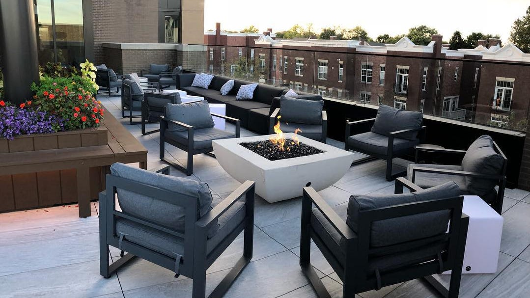The patio at 3UP Rooftop Bar on West Main Street...