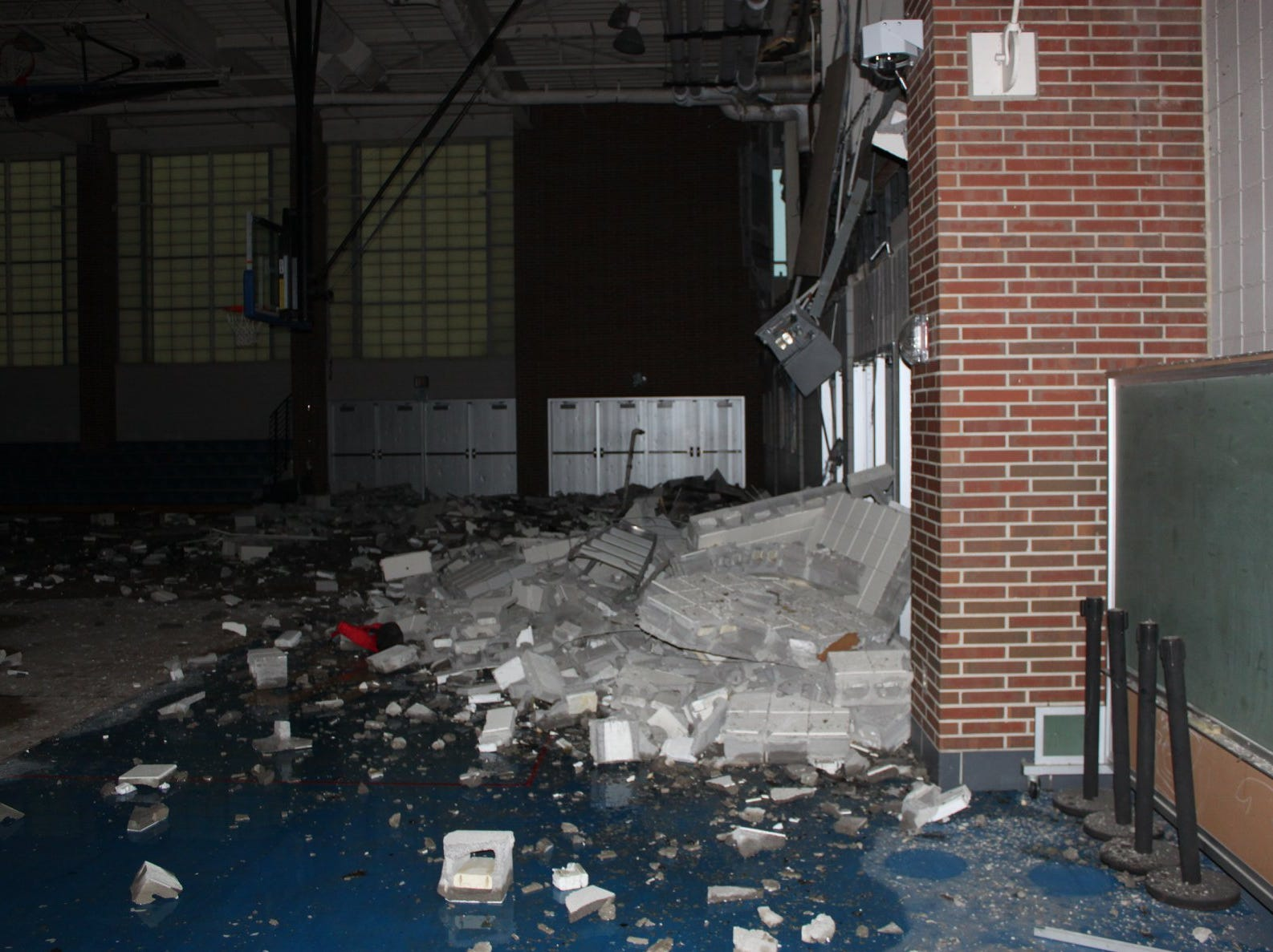 Aftermath of the explosion that occurred during maintenance to a heater at Carmel High School. Two were injured in the blast.