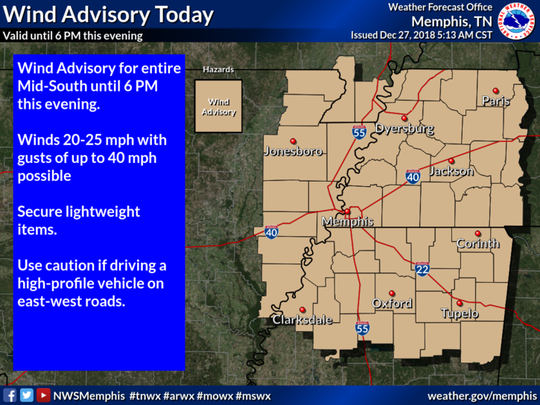 Weather predictions for the Mid-South from the National Weather Service in Memphis on Thursday, December 27.