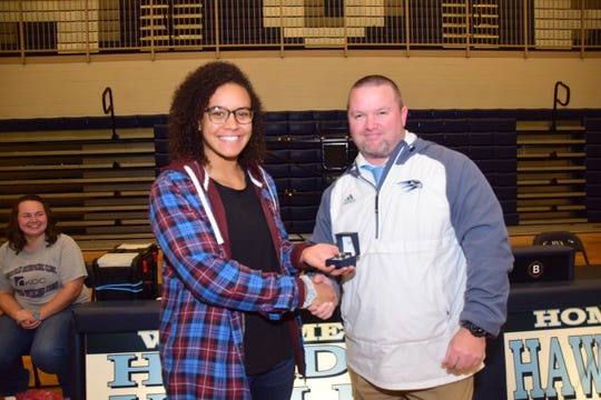 Kenya Sloan receives a ring to commemorate her four TSSAA State Championship titles at Hardin Valley Academy Tuesday, Dec. 18.