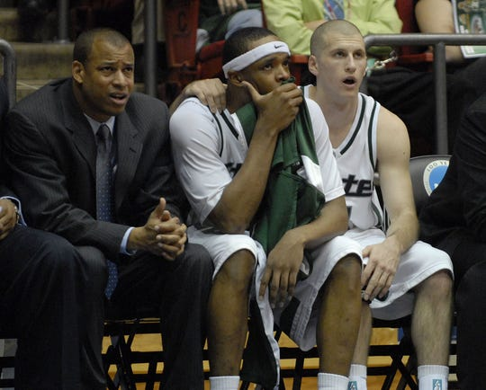 Mark Montgomery spent 10 seasons as an assistant coach on Michigan State's bench, including (pictured) the end of the 2006 first-round NCAA tournament loss to George Mason.