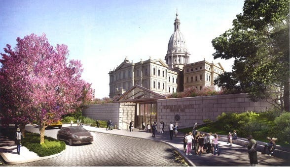 A 2018 rendering of the entrance to the proposed Heritage Hall.