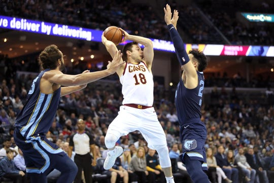 Memphis Grizzlies guard Dillon Brooks defends Cleveland Cavaliers guards Matthew Dellavedova during their game at the FedExForum on Wednesday, Dec. 26, 2018.