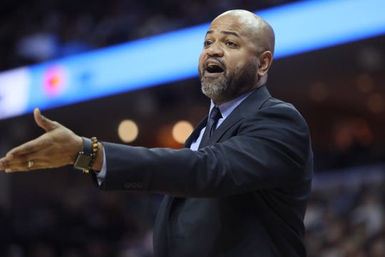 Memphis Grizzlies Head Coach J.B. Bickerstaff yells out to his team during their game against the Cleveland Cavaliers at the FedExForum on Wednesday, Dec. 26, 2018.