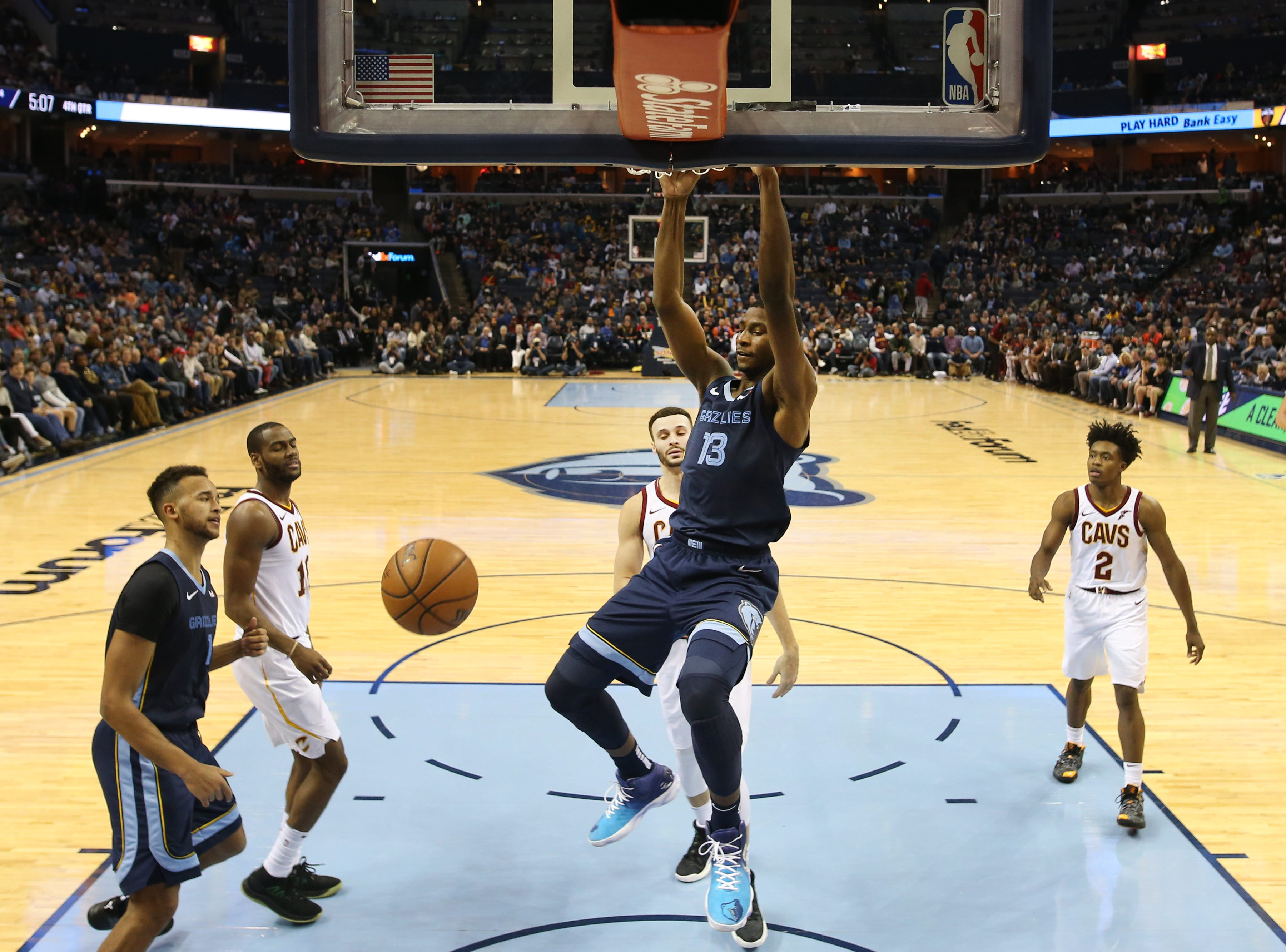 Memphis Grizzlies forward Jaren Jackson Jr. dunks the ball against the Cleveland Cavaliers during their game at the FedExForum on Wednesday, Dec. 26, 2018.