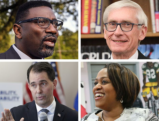 MPS Superintendent Keith Posley (clockwise from upper left) , Gov.-elect Tony Evers, former MPS Superintendent Darienne Driver, Gov. Scott Walker