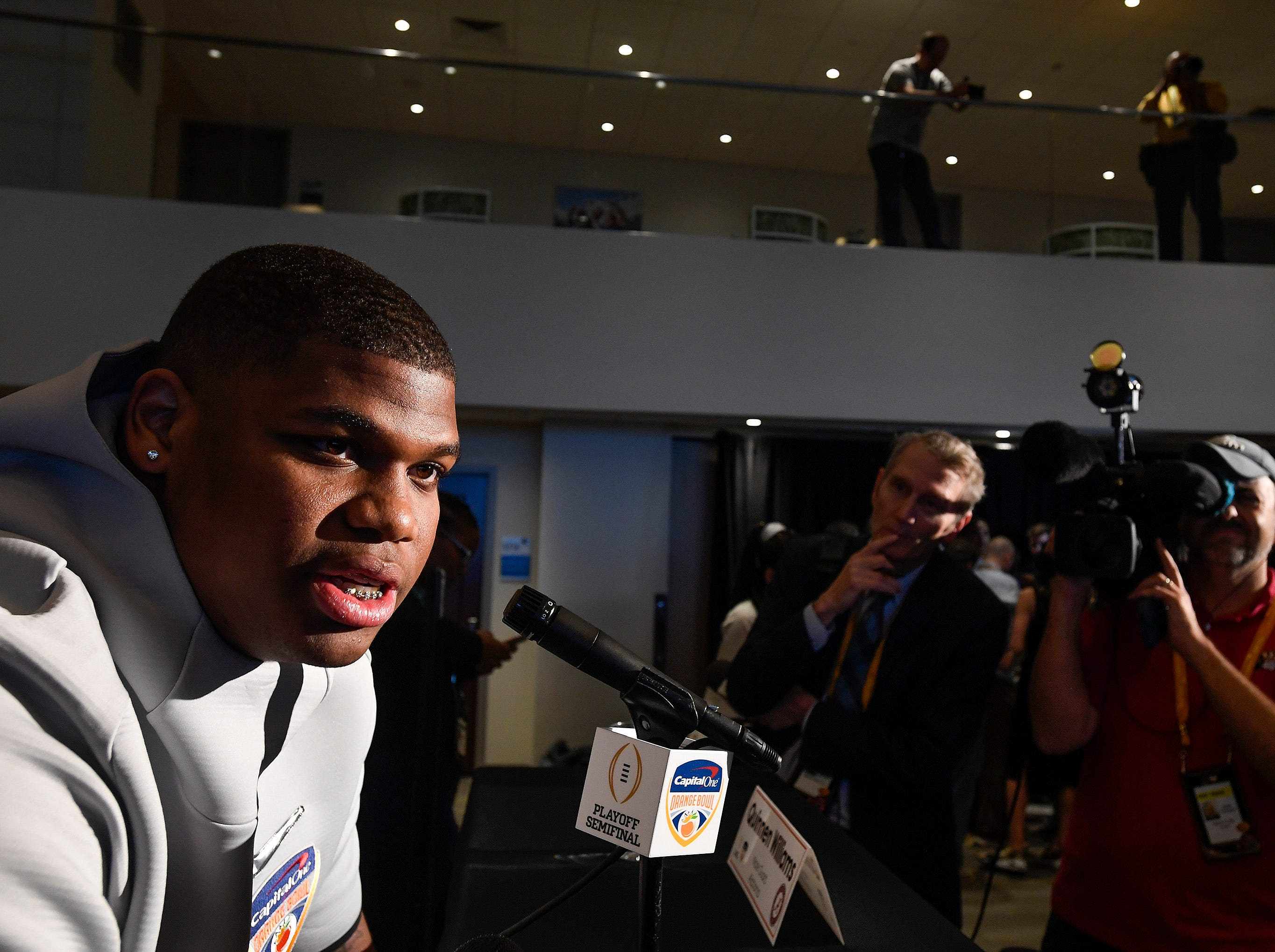 Alabama defensive lineman Quinnen Williams (92) during the Alabama Media Day at the Hard Rock Stadium in Miami Gardens, Fla., on Wednesday December 26, 2018.