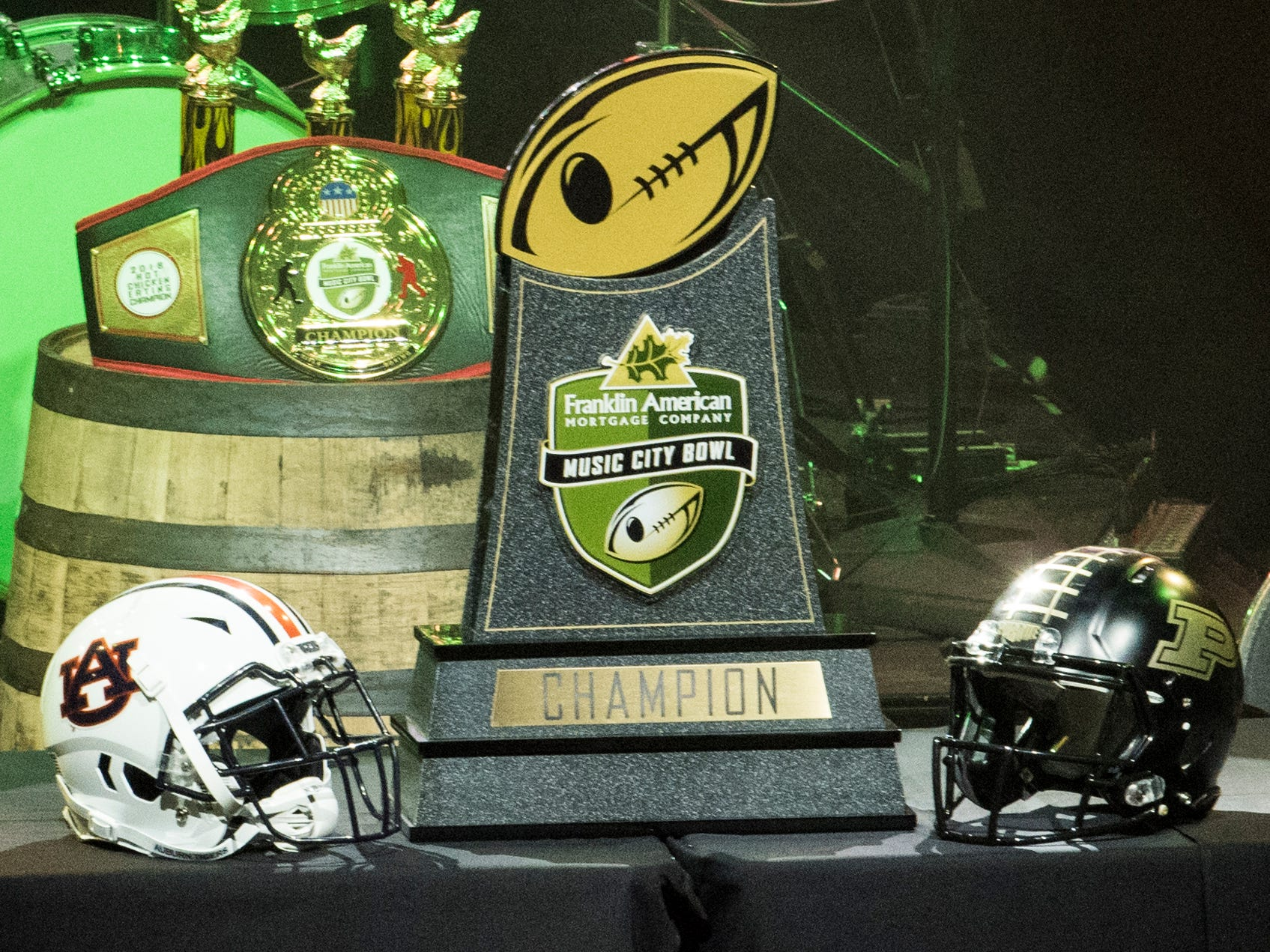 The Music City Bowl trophy at Wild Horse Saloon in Nashville, Ten., on Wednesday, Dec. 26, 2018.