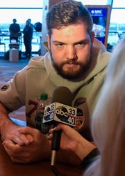 Alabama offensive lineman Jonah Williams (73) during the Alabama Media Day at the Hard Rock Stadium in Miami Gardens, Fla., on Wednesday December 26, 2018.