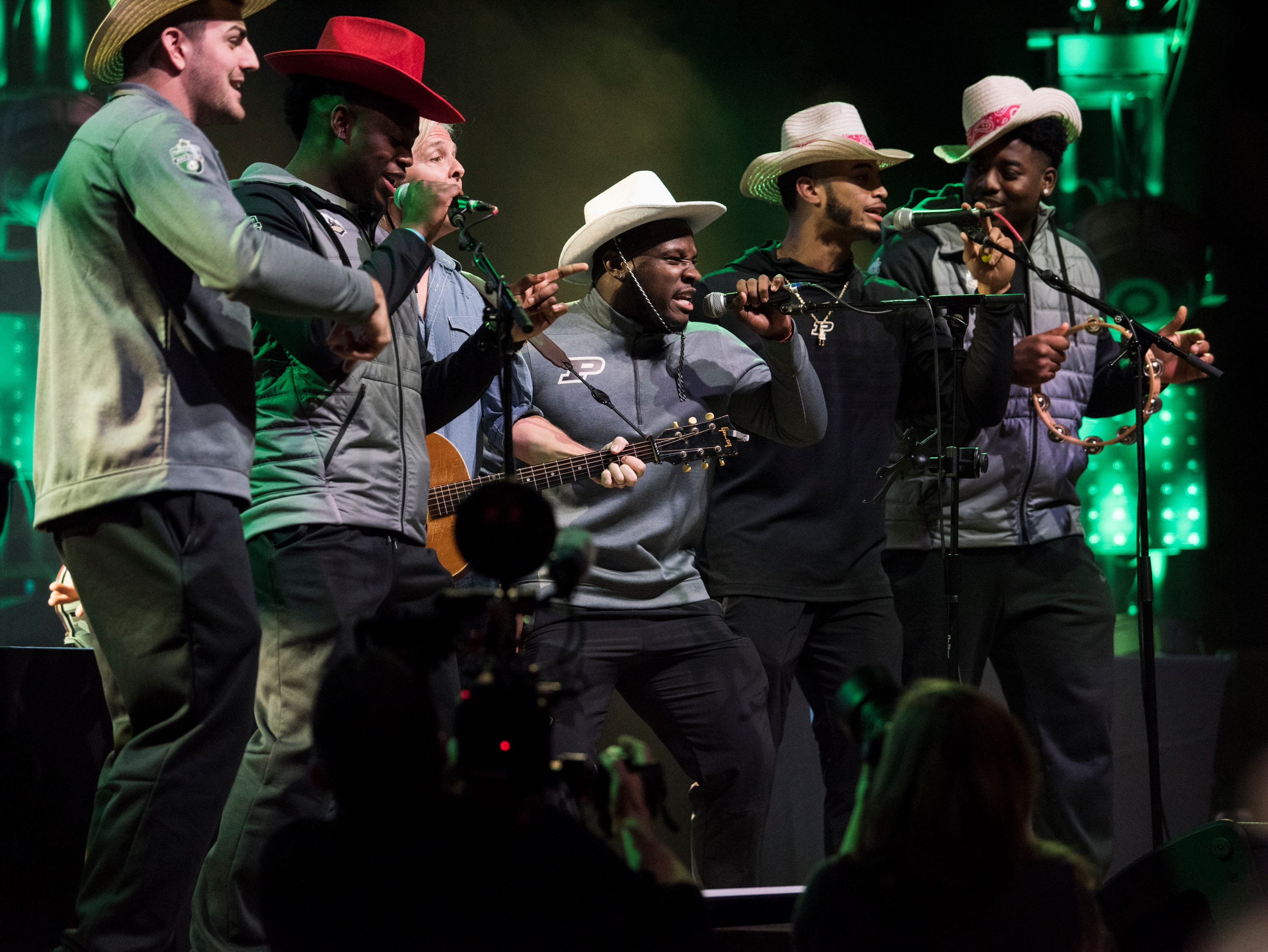 Purdue players compete in a song writing competition at Wild Horse Saloon in Nashville, Ten., on Wednesday, Dec. 26, 2018. Auburn takes on Purdue in the Music City Bowl Friday.