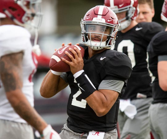 Alabama quarterback Jalen Hurts (2) during Alabama's practice on the Barry University campus in Miami Shores, Fla., on Thursday December 27, 2018. Alabama plays Oklahoma in the Orange Bowl on Saturday.