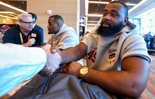 Alabama defensive lineman Isaiah Buggs (49) during the Alabama Media Day at the Hard Rock Stadium in Miami Gardens, Fla., on Wednesday December 26, 2018.
