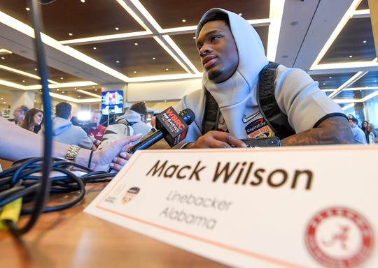 Alabama linebacker Mack Wilson (30) during the Alabama Media Day at the Hard Rock Stadium in Miami Gardens, Fla., on Wednesday December 26, 2018.