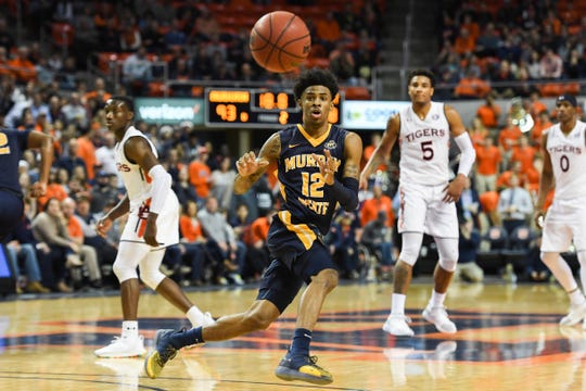 Dec 22, 2018; Auburn, AL, USA; Murray State Racers guard Ja Morant (12) watches the ball during the second half against the Auburn Tigers at Auburn Arena. Mandatory Credit: Shanna Lockwood-USA TODAY Sports