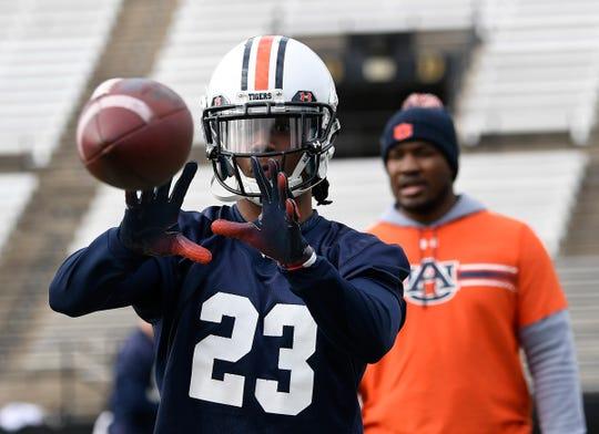 Auburn wide receiver Ryan Davis catches a pass during  practice at Vanderbilt on Wednesday, Dec. 26, 2018 in Nashville, TN.