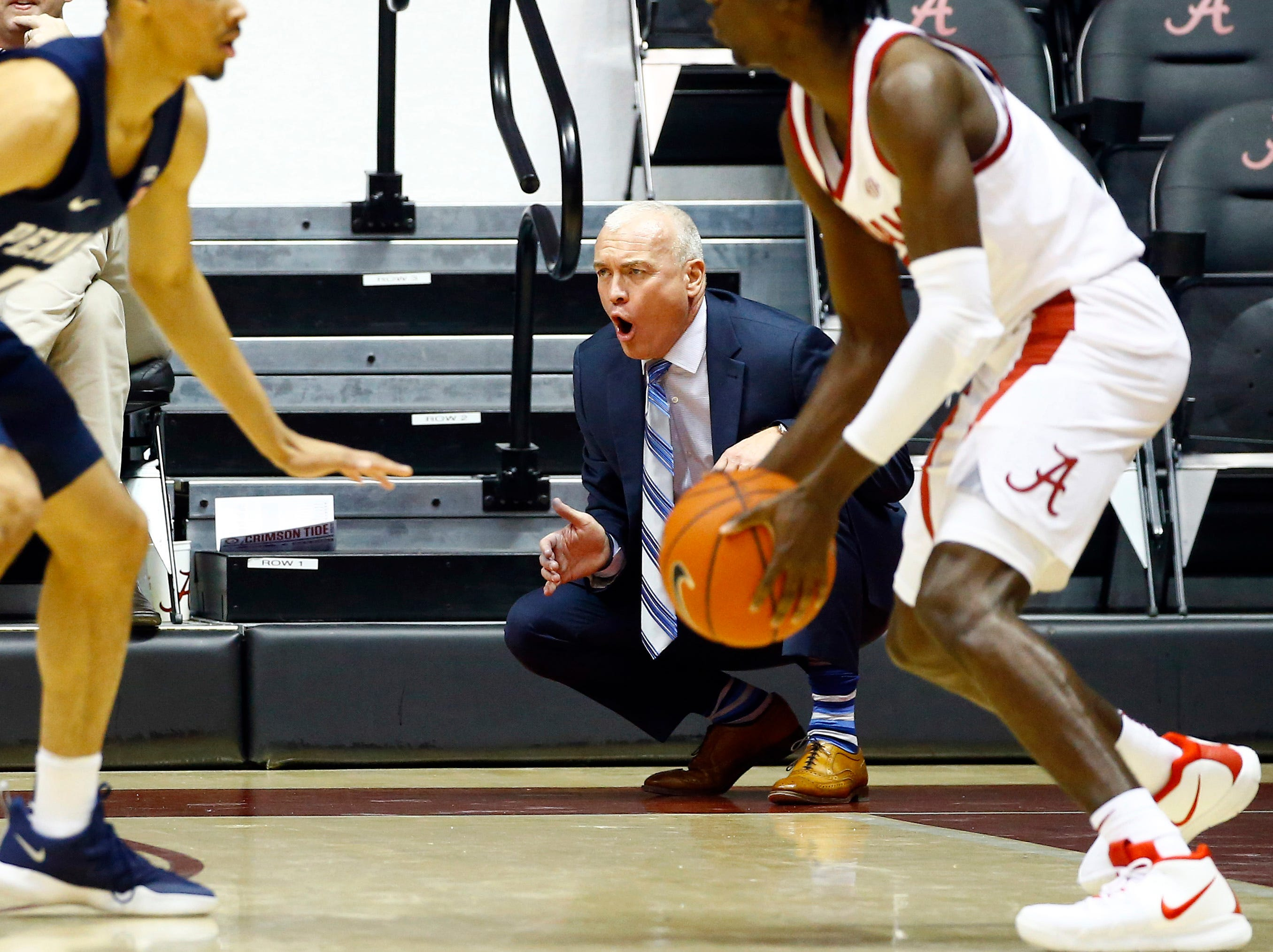 Dec 21, 2018; Tuscaloosa, AL, USA; Penn State Nittany Lions head coach Patrick Chambers yells from the sidelines during the first half of an NCAA college basketball game against the Alabama Crimson Tide at Coleman Coliseum. Mandatory Credit: Butch Dill-USA TODAY Sports