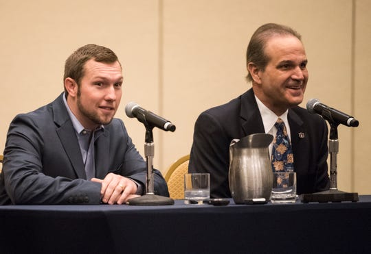 Auburn offensive coordinator Kenny Dillingham, left, and Auburn defensive coordinator Kevin Steele address the media during a press conference at Gaylord Opryland in Nashville, Ten., on Thursday, Dec. 27, 2018. Auburn takes on Purdue in the Music City Bowl on Friday.