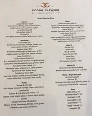 The grand opening menu at The Coosa Cleaver features favorites from the Montgomery location along with some new additions.