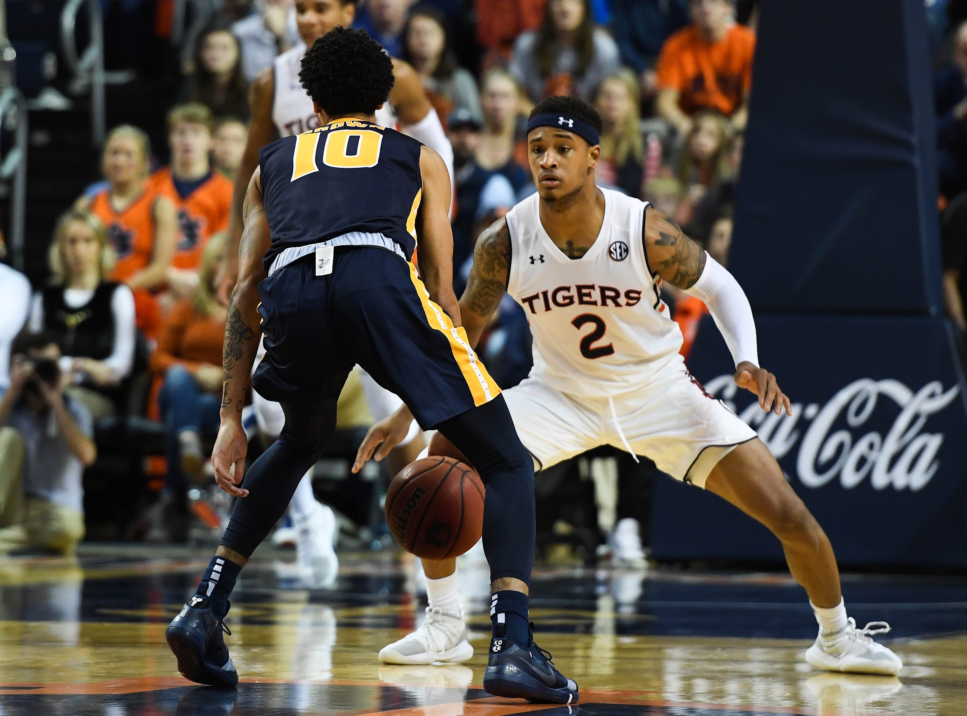 Dec 22, 2018; Auburn, AL, USA; Auburn Tigers guard Bryce Brown (2) defends Murray State Racers guard Tevin Brown (10) during the second half at Auburn Arena. Mandatory Credit: Shanna Lockwood-USA TODAY Sports