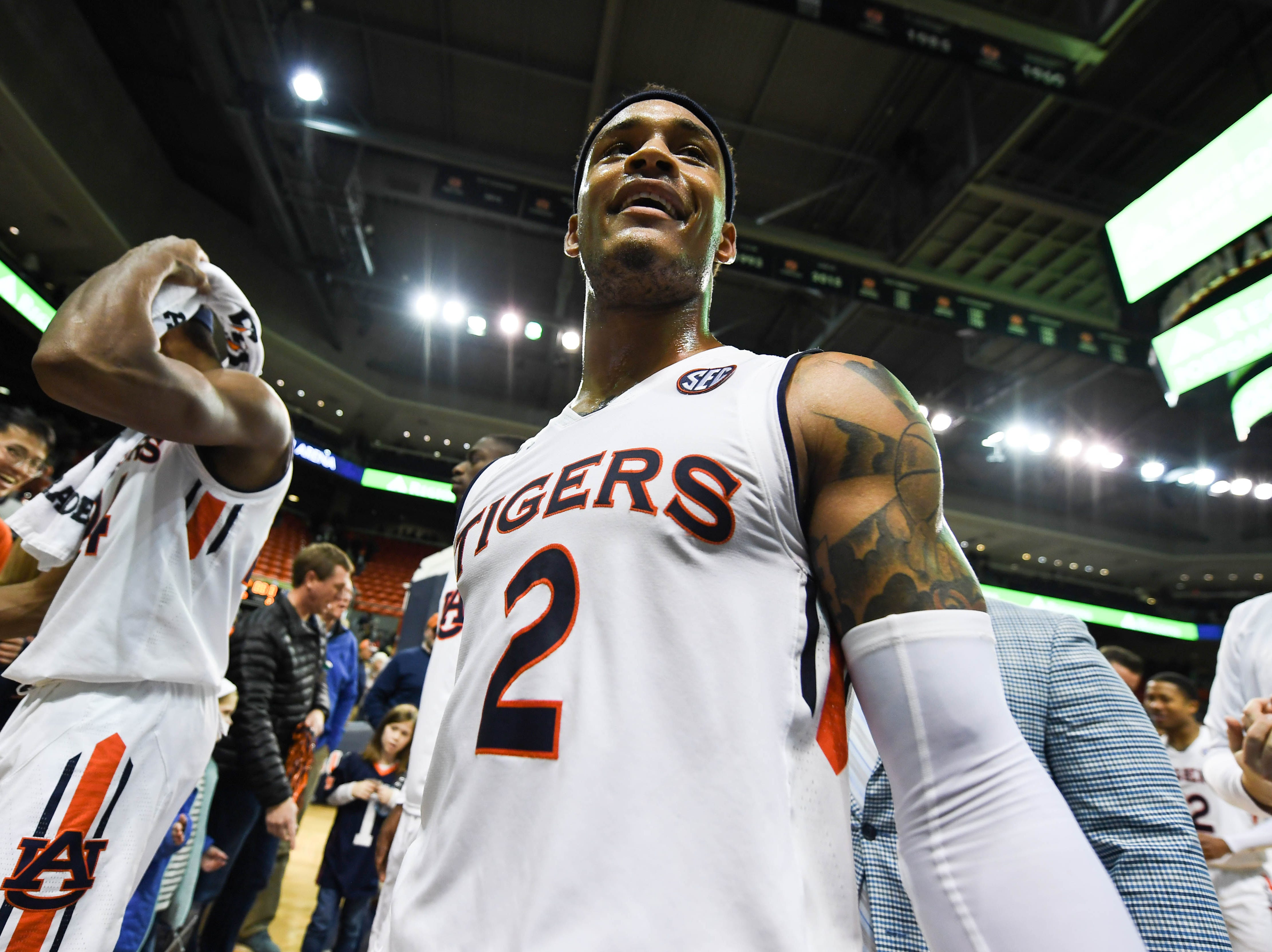 Dec 22, 2018; Auburn, AL, USA; Auburn Tigers guard Bryce Brown (2) walks off the court after the win over the Murray State Racers at Auburn Arena. Mandatory Credit: Shanna Lockwood-USA TODAY Sports