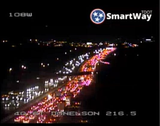 A crash on I-40 westbound is causing delays near the airport between Donelson Pike and Briley Parkway.