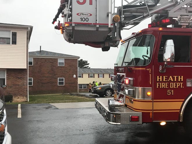 Multiple fire departments responded to a fire at an apartment on Andover Road in Heath Thursday afternoon. No injuries were reported.
