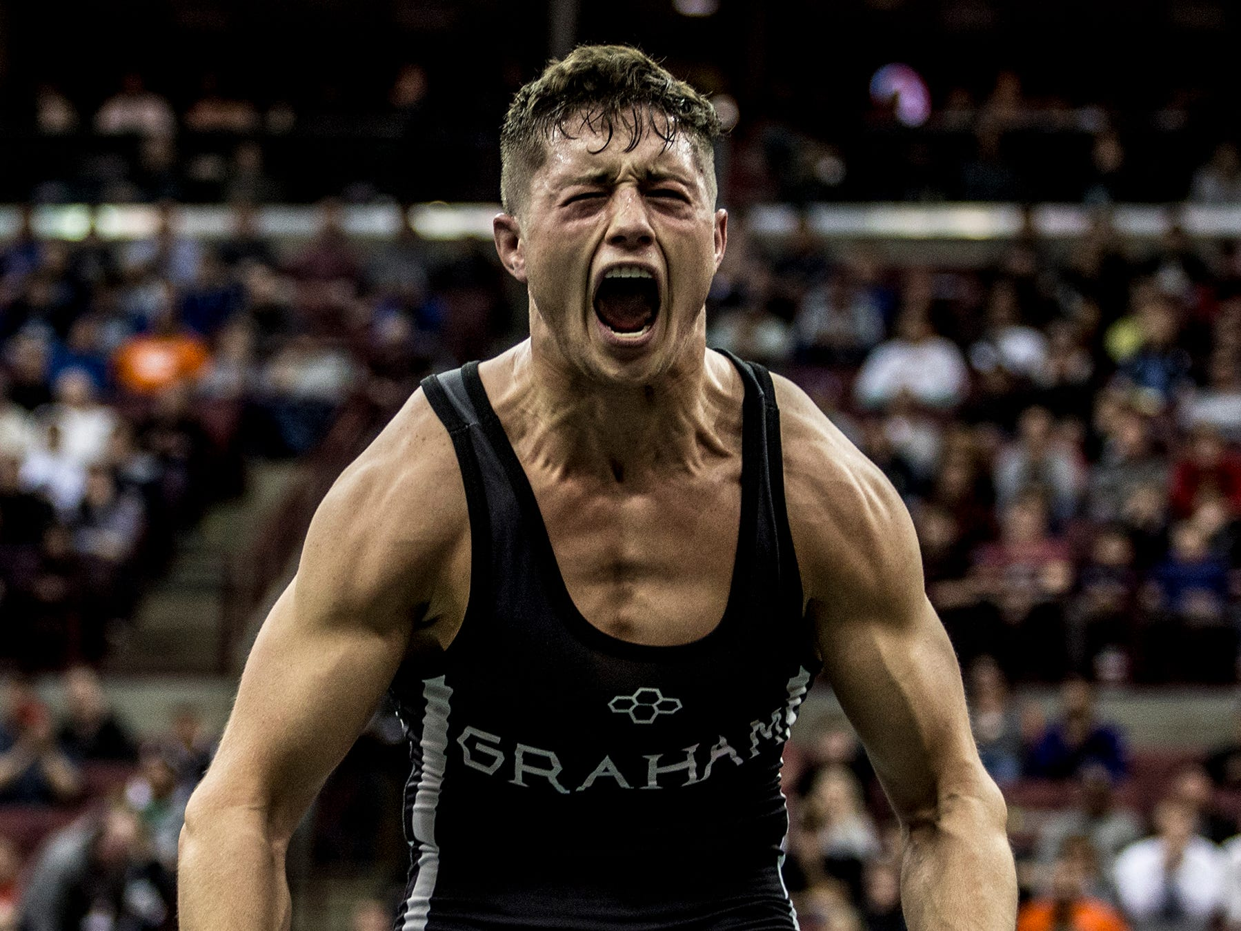 Joey Sanchez of ST. Paris Graham Local reacts after beating Jason Hubbard of Studenville in the division 11 152 pound weight class 2018 state wrestling championships.