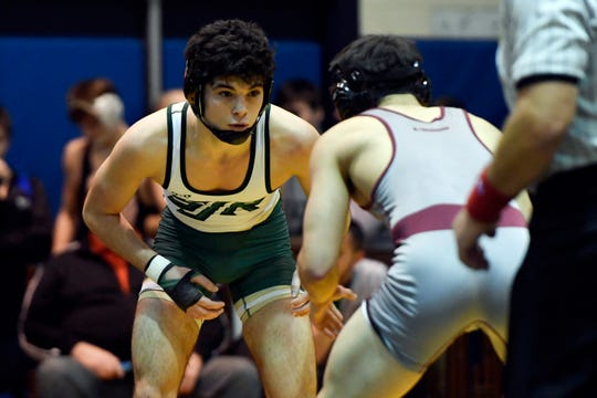 Michael Cetta of St. Joseph faces Nick Franco of Don Bosco in a 138-pound quarterfinal match on Day 1 of the BCCA holiday wrestling tournament on Thursday, Dec. 27, 2018, in Hackensack.