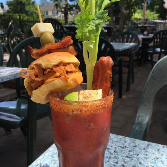 This over-the-top bacon cheeseburger Bloody Mary can be found at Cloverleaf Tavern.