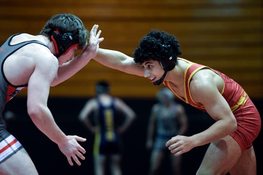 Justin Cantor of North Bergen, right, and Devin Ianelli of Northern Highlands wrestle in a 138-pound quarterfinal match on Day 1 of the BCCA holiday wrestling tournament on Thursday, Dec. 27, 2018, in Hackensack.