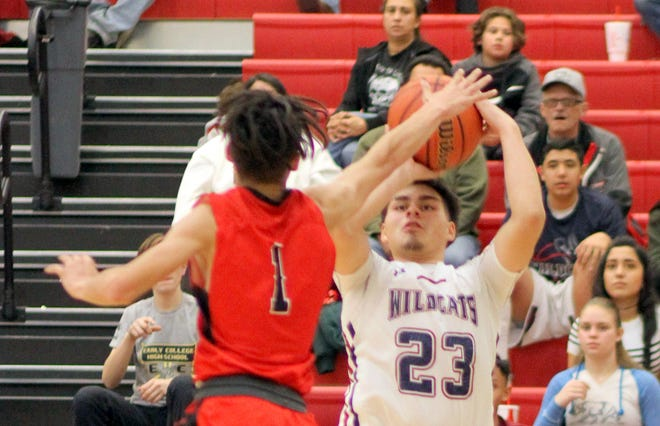 At 6-foot, senior post Demetri Maldonado (23) has held his own against taller post players.