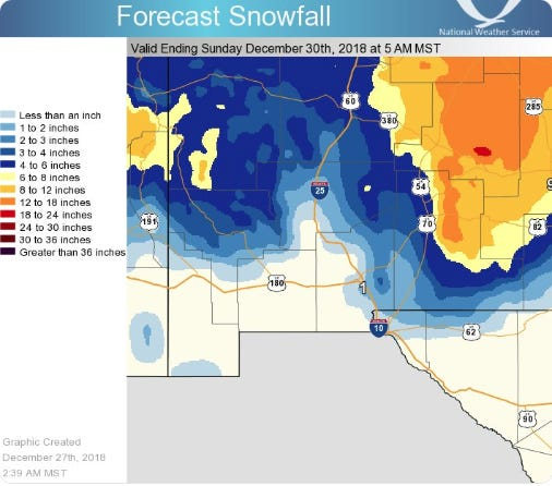There's a chance of snow in the forecast for the weekend of Dec. 29-30, 2018 in southern New Mexico.
