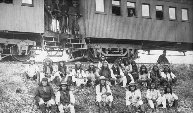 Chiricahua and Warm Springs Apaches being transported to Florida in 1886.