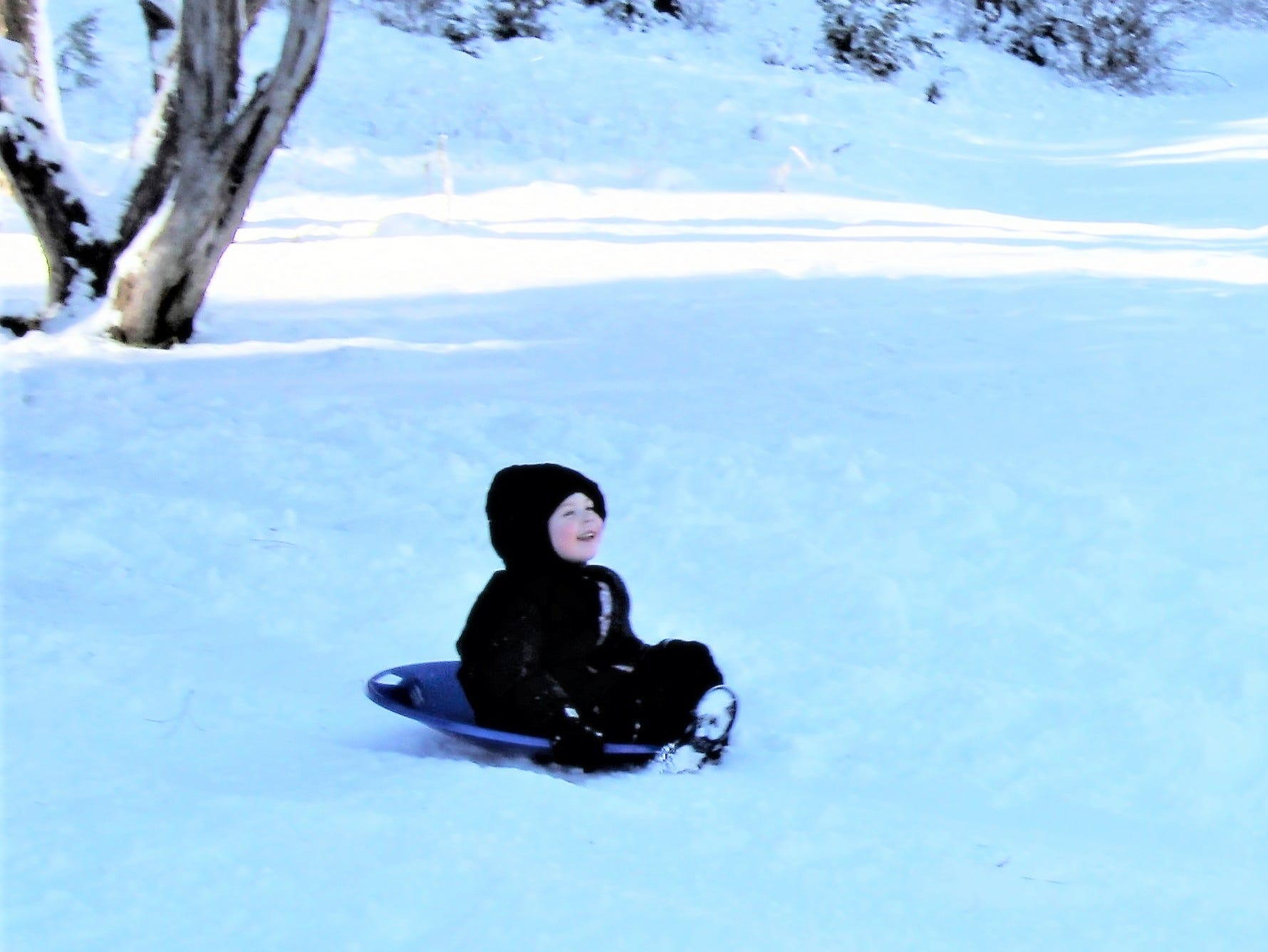 Nothing better than sledding on fresh snow in Ruidoso.