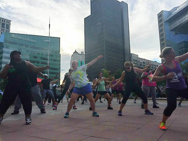 D-SKO Fitness comes to the Campus Martius Park area in Detroit.